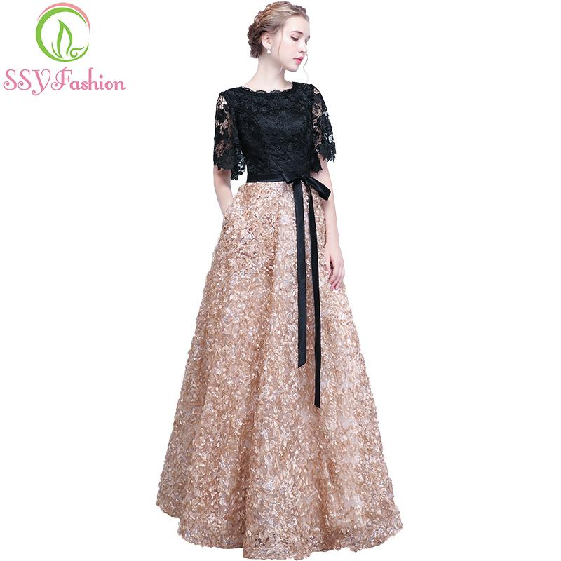 2019 SSYFashion New Evening Dress The Bride Elegant Banquet Black With  Khaki Contrast Color Lace Floor Length Long Prom Party Gowns C18122201 From  ... 430fe5f477a7