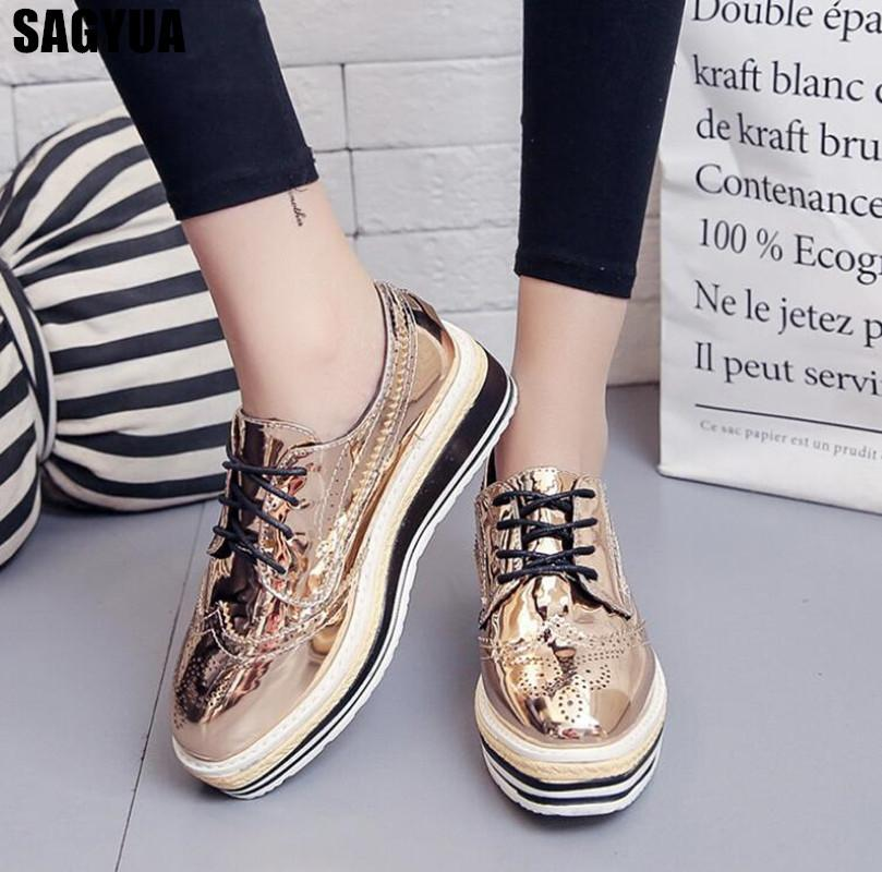 New Women Flats high quality Brogue Shoes Woman Flat Platform Oxfords Fashion Lace up Casual Wedge platform shoes Creepers A240