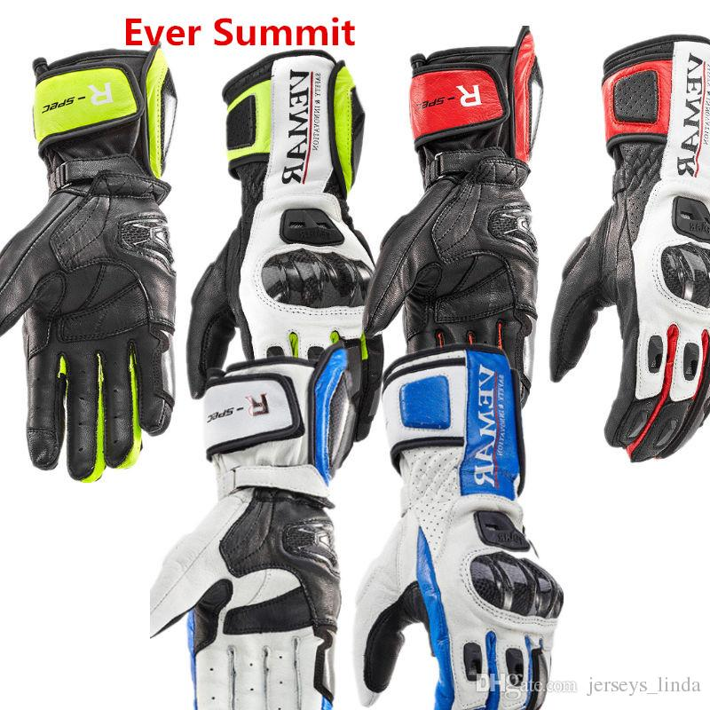 Motorcycle Riding Leather Gloves Locomotive Long Carbon fiber Shell Hand Men Winter Shatter-Resistant Windproof Touch screen Gloves