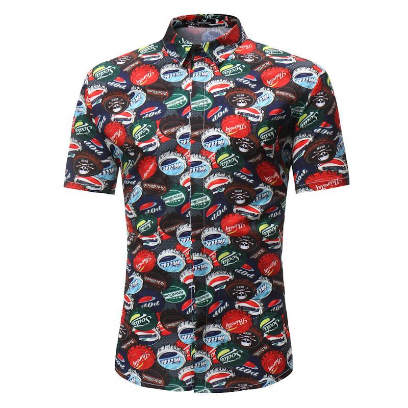 17b50f3b02a 2019 Brand Mens Hipster Flower Floral Print Beach Shirt Short Sleeve  Hawaiian Dress Shirt Men Casual Vacation Tops Camisa