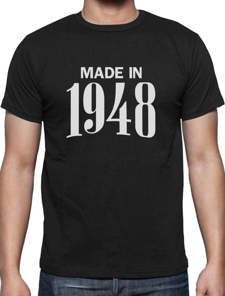 70th Birthday Gift Idea Made In 1948 T Shirt Retirement Print Men Short Sleeve TOP TEE Fashion Summer Top Tee Shirts Sites Tees