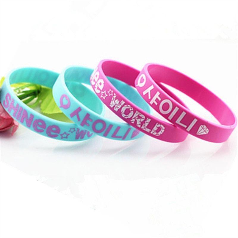 1PC New Fashion SHINee World Band Silicone Wristband Music Band Shawol Aid  Silicone Bracelets & Bangles Large Size Gift SH072BK