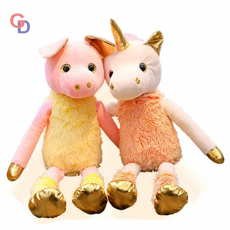 2019 Large Size Unicorn Stuffed Toy Long Fluffy Hair Golden Horn