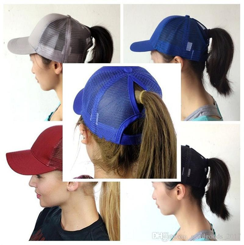 Ponytail Ball Cap Messy Buns Trucker Ponycaps Plain Baseball Visor Cap Dad  Hat Ponytail Snapbacks Mk293 Flexfit Cap Ny Caps From Huanghongbin20192 ed93ac2b140