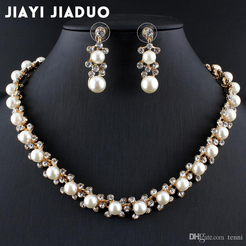 b332ebbee1 Jiayijiaduo Hot Fashion Imitation Pearl Jewelry Set For Women Gold Color  Wedding Necklace Earrings Dress Accessories Engagement Ring Settings Jewelry  Set ...