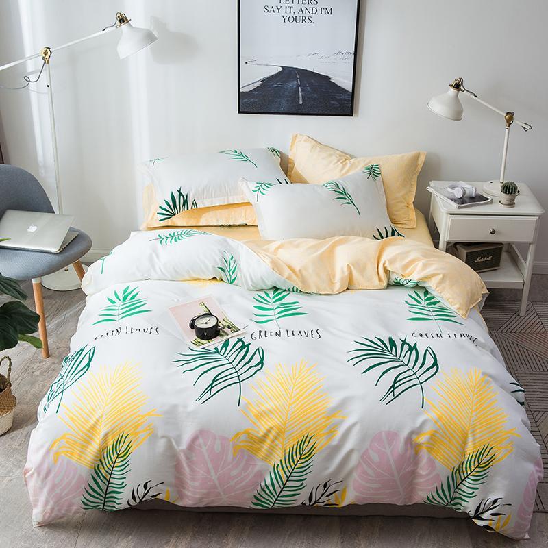 Leaves Single Bedding Set Qulit Cover Pillowcases White Home Textile ...