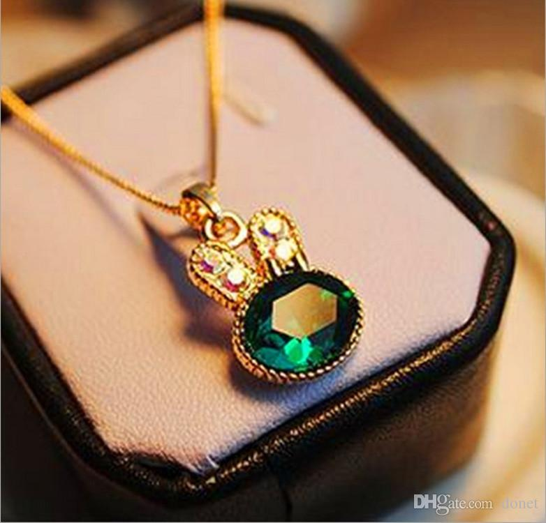Fashion Green Cute Rabbit Ear Bunny Pendant Crystal Necklace Girls Jewelry