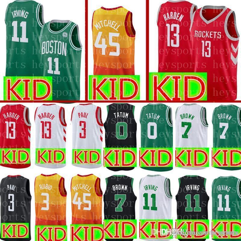 online store a2b9e cb39e New KID Boston 11 Kyrie Irving 0 Jayson Tatum Celtics Jersey Youth 45  Donovan Mitchell Utah 13 James Harden Rockets Jerseys