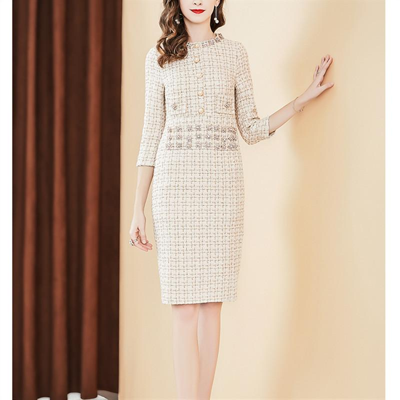 fa2d6f81b637 Luxury Designer Runway 2019 Spring Slim Office Women Dresses Long Sleeve Beading  Plaid Straight Tweed Woolen Dress Sale Black Dresses Evening Dresses Ladies  ...
