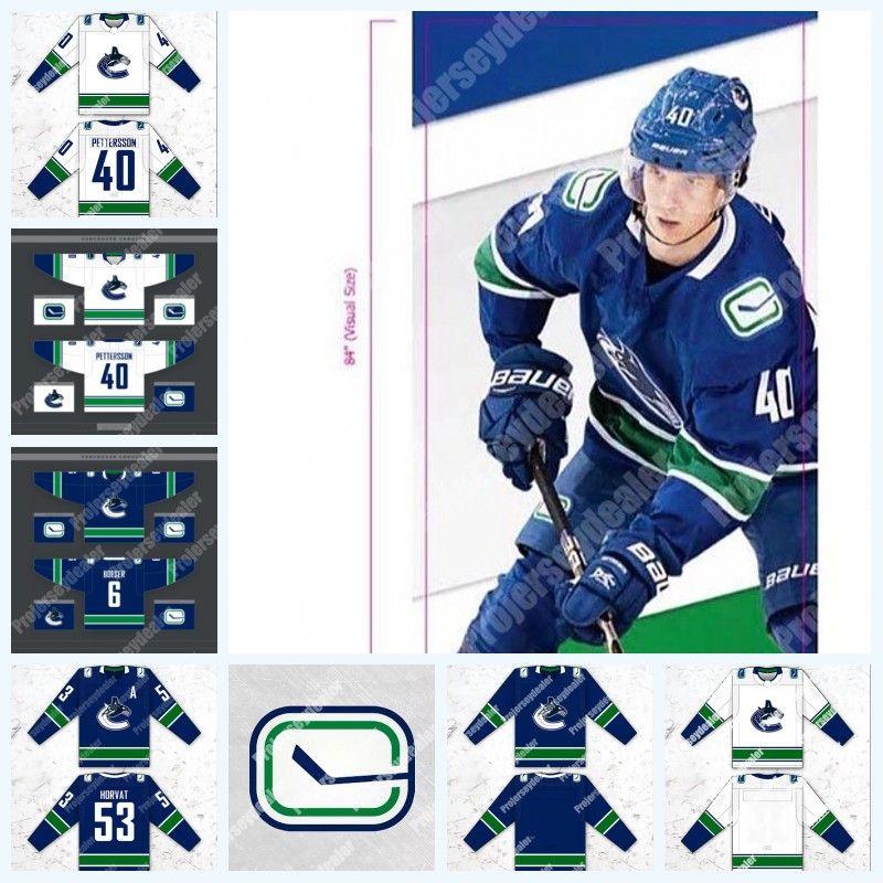 finest selection 4128e db3f2 40 Elias Pettersson 2019-2020 Vancouver Canucks Jersey 53 Bo Horvat 6 Brock  Boeser 26 Antoine Roussel 23 Alexander Edler 21 Loui Eriksson