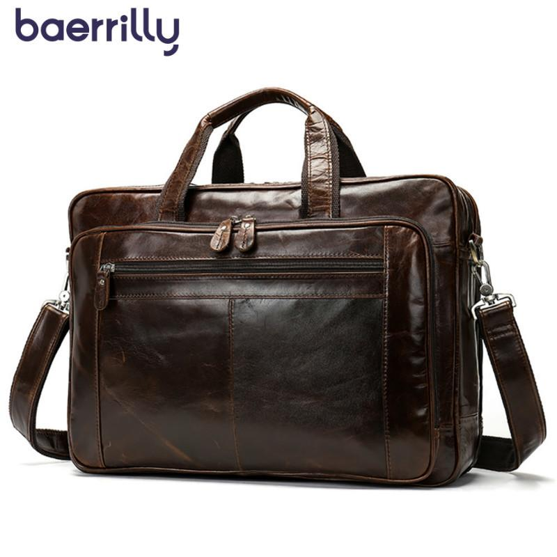 d880f3628df2 2019 New Mens Briefcase 15 Inch Computer Briefcase Messenger Bag Men Laptop  Bag Genuine Leather Handbags Stereo Large Tote Leather Satchel Laptop Bags  For ...