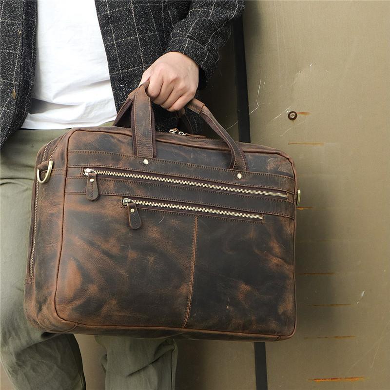 9318b981764 Nesitu Vintage Large Genuine Crazy Horse Leather 14'' 15.6'' 17'' Laptop  Office Men Briefcase Portfolio Business Messenger Bags