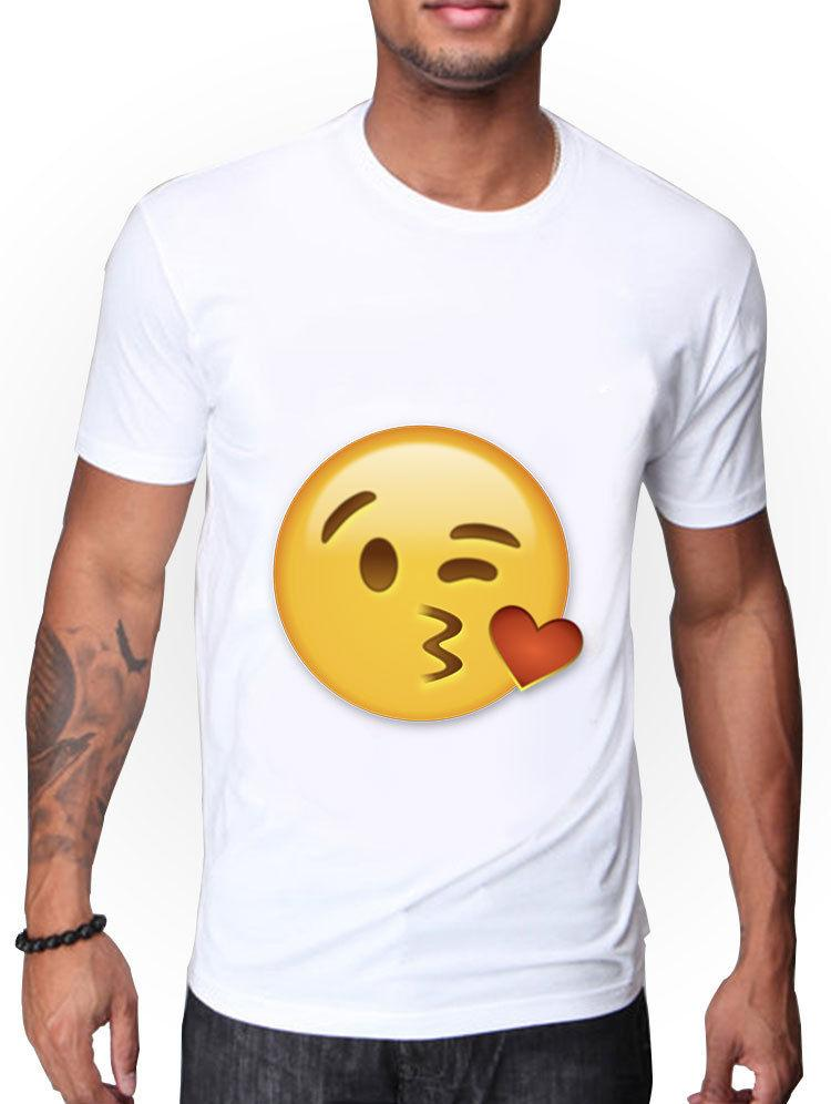 bb3888d82 MENS WHITE T SHIRT WITH BLOWING KISS EMOJI DESIGNFunny Unisex Casual Tshirt  Top White T Shirt Designs Awesome T Shirt Sites From Fandtheodore, ...