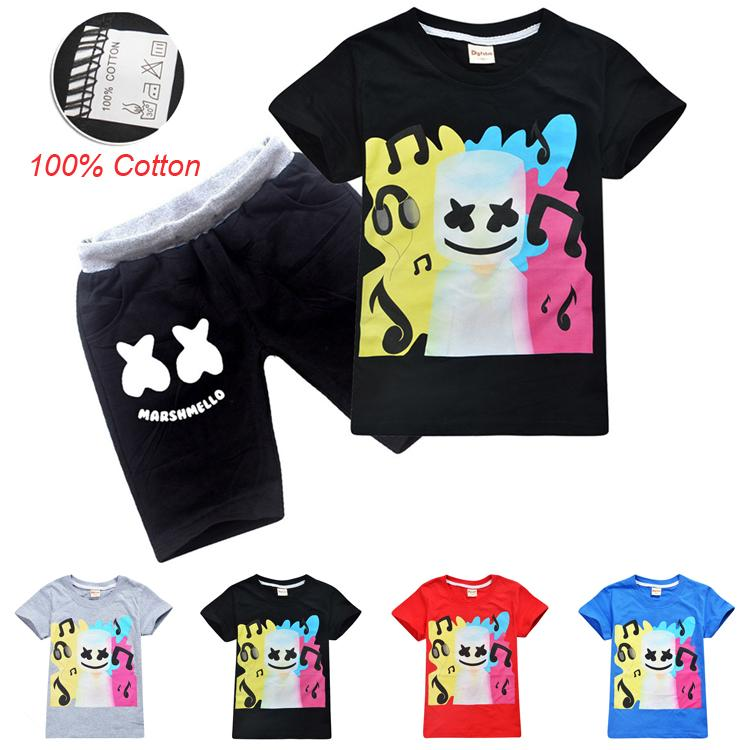 DJ Marshmello Summer Kids Clothing Sets 6-14t Kids Boys Cartoon Printed  100% Cotton T-shirt + Shorts 2 Piece Set kids designer clothes SS99