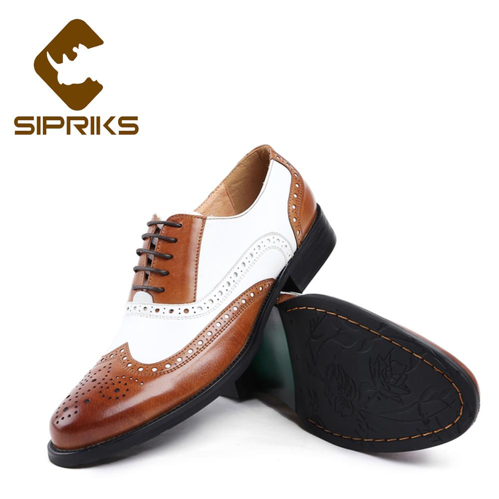 Sipriks Luxury Black White Mens Dress Shoes Vintage Mens Spectator Oxfords Uomo Scarpe Marrone Bianco Europeo Abiti Groom Shoes 45