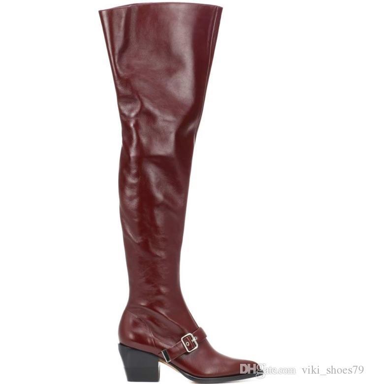 d0054bb27 Compre Atacado Senhoras Sapatos De Inverno Bota Moda Incomum Saltos Cubanos  Longo Botas De Equitação Longo Coxa Botas Altas Para As Mulheres De  Viki_shoes79 ...