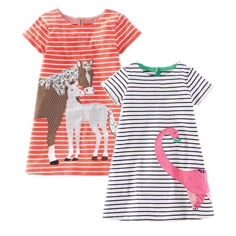a05823b3f5a77d Großhandel 2 Stücke Baby Mädchen Baumwolle Kleid Prinzessin Kinder Kleidung  Robe Fille Applique Kinder Sommer Tunika Jersey Kleider Für Mädchen  Kleidung Von ...