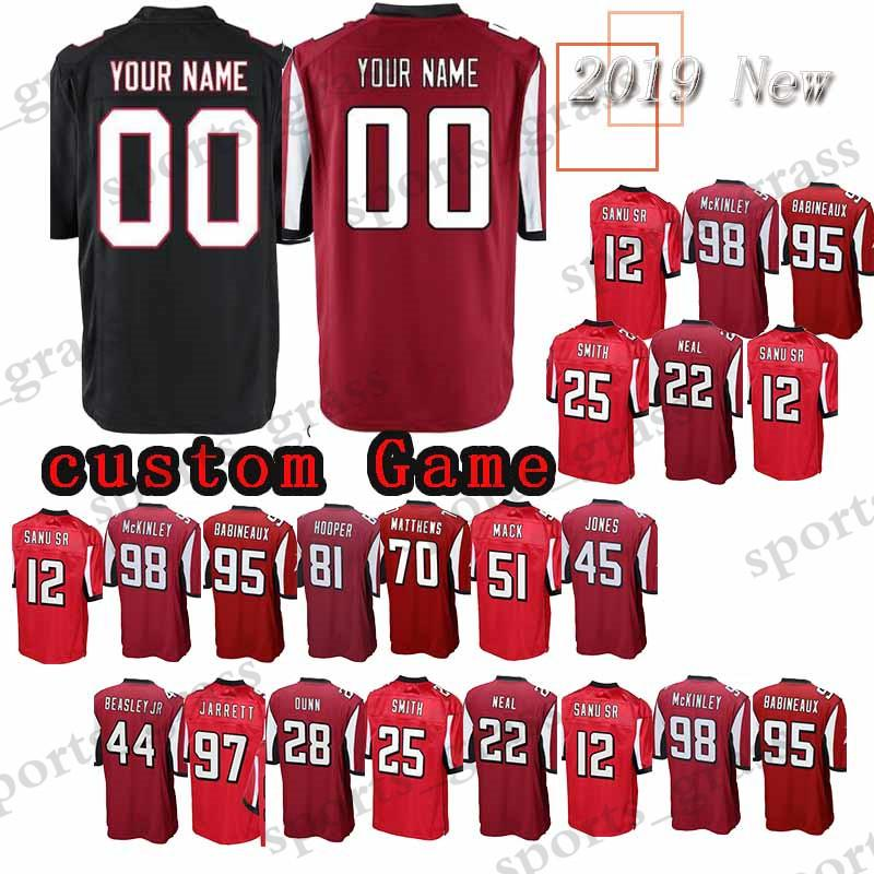 half off 52b11 e05af custom Game Atlanta Falcon Jersey 81 Austin Hooper 44 Vic Beasley Jr. 22  Keanu Neal 26 Tevin Coleman 45 Deion Jones 12 Sanu Jerseys