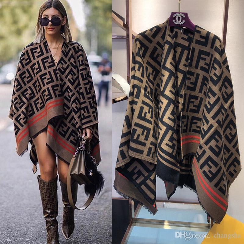 Brand F Letter V -Neck Women Cape Vintage Fashion Tassel Female Clothing Winter Outdoor Warm Coats For Christmas Gift