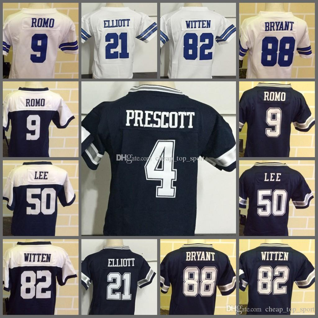 newest d92c8 eadcd Toddler Baby Stitched Dak 4 Prescott Tony 9 Romo Ezekiel 21 Elliott Sean 50  Lee Jason 82 Witten Dez 88 Bryant Emmitt 22 Smith Infant Childre