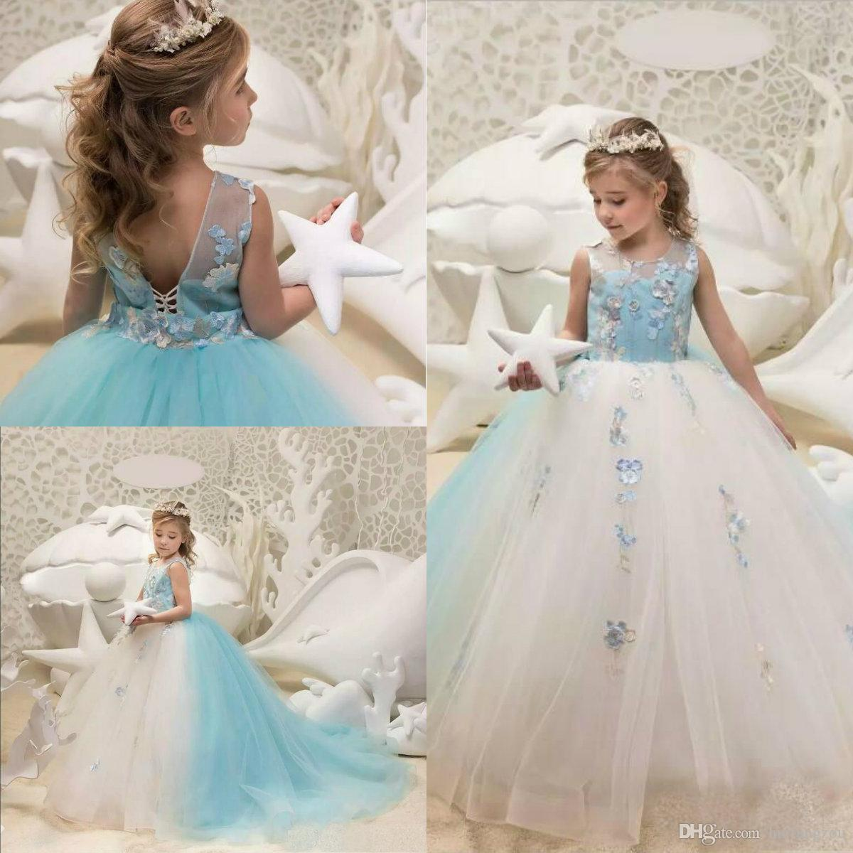 Pretty Princess Flower Girl Dresses Kids Ball Gown Lace Appliques