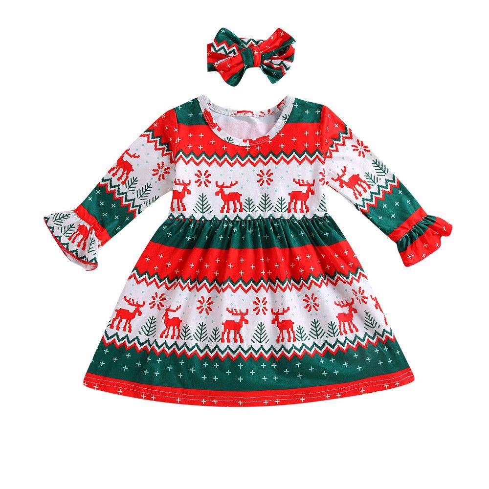 936ccea33 Compre Vestido De Niña Recién Nacida De Navidad Para Bebés Y Niños Pequeños Fiesta  Infantil Princesa Santa Encaje Rojo Diadema De Navidad Traje De 2 Piezas ...