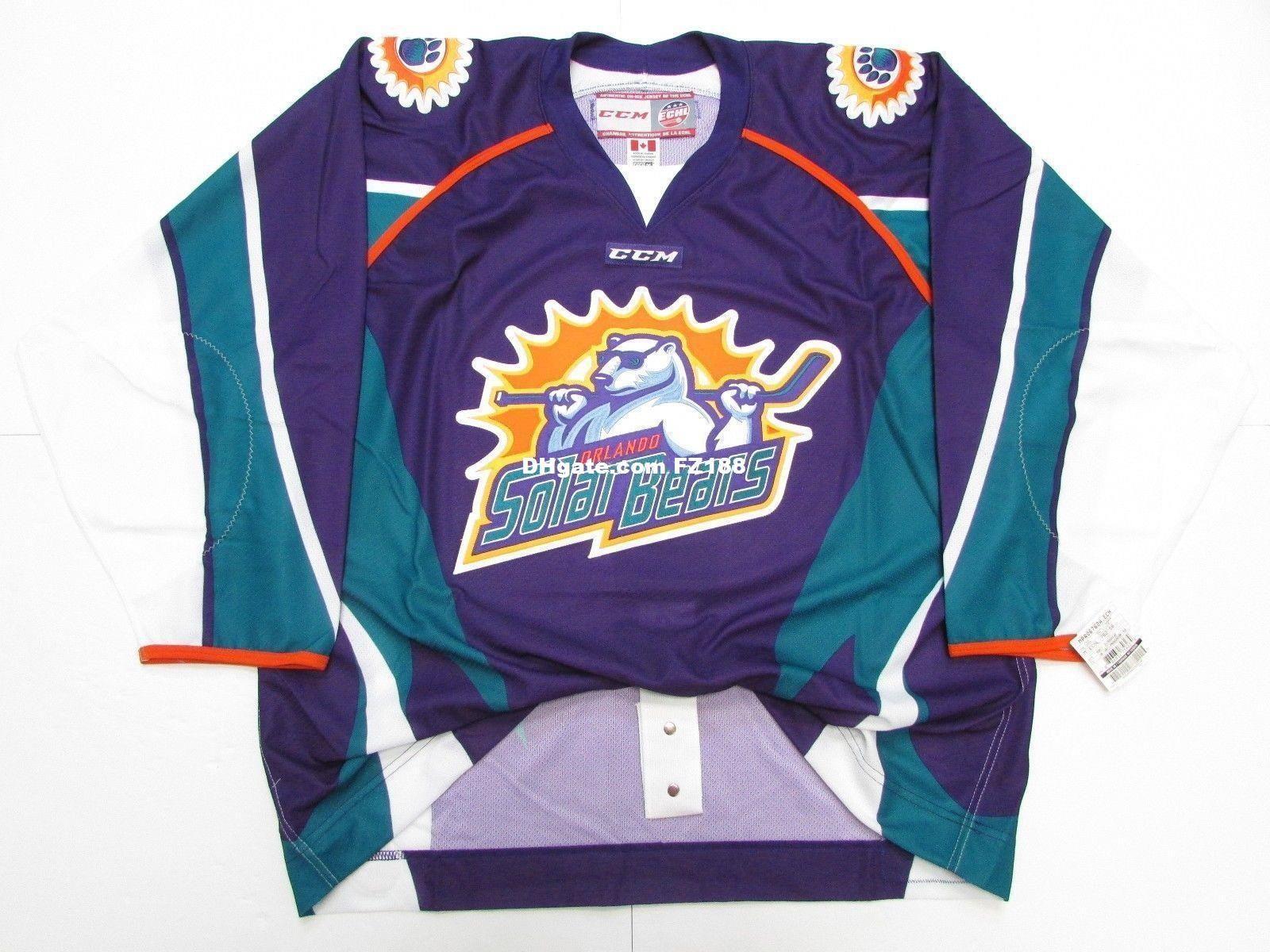 size 40 2592d d82b3 Cheap custom ORLANDO SOLAR BEARS ECHL Ice hockey jerseys PURPLE PRO CCM  HOCKEY JERSEY S-5XL