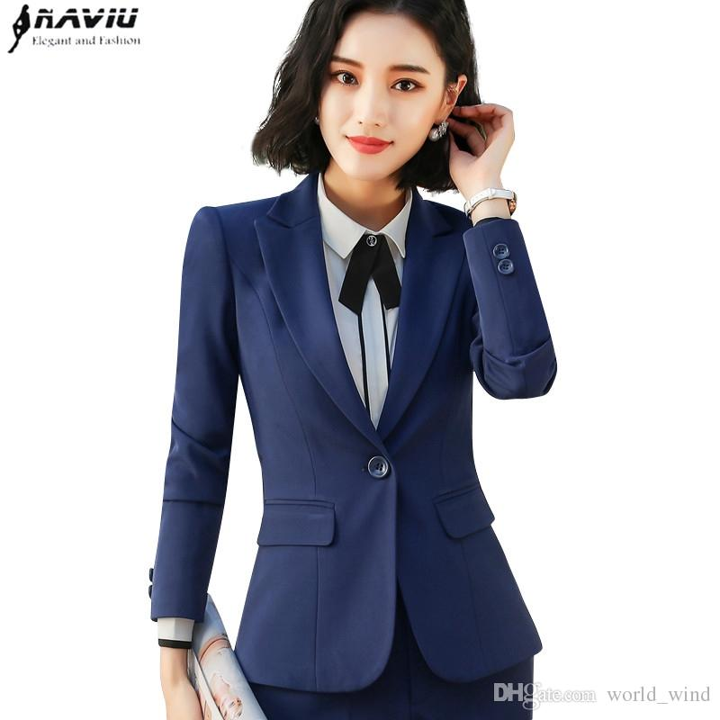 f137bfd19d 2019 2018 Spring New Business Blazer Plus Size Fashion Office Formal Female  Long Sleeve Jacket Work Wear Slim Interview Outerwear  408786 From  World wind