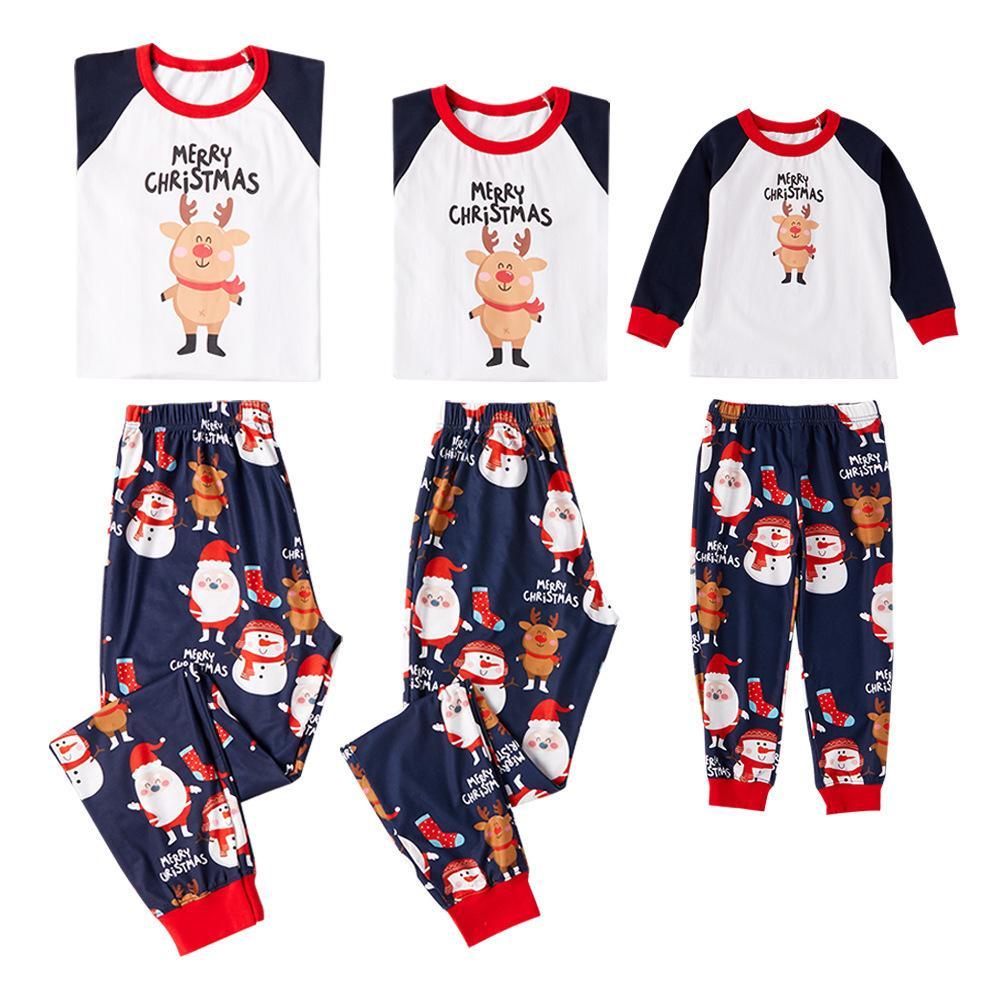 Family Holiday Deer Matching Pajama Sets Long Sleeve Top Pj