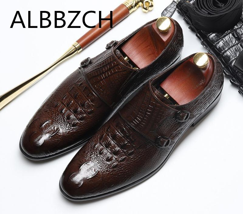 New arrival derby men shoes crocodile pattern genuine leather business dress shoes men's high grade office career work men