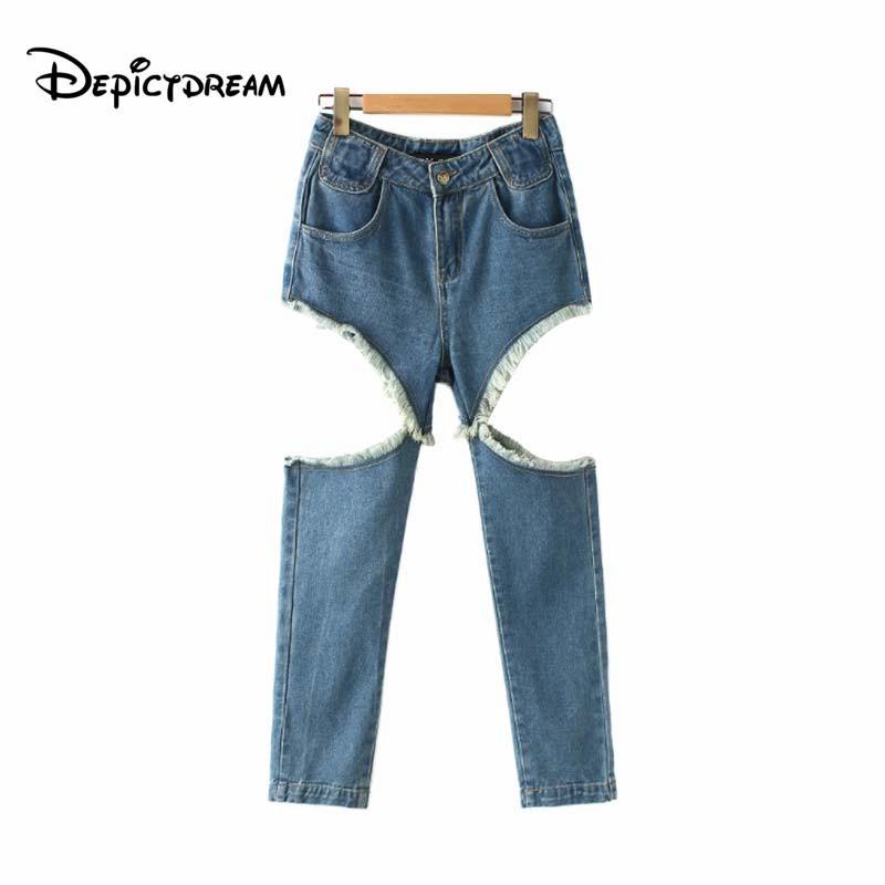 d5c51ac137 Compre 2019 Mujeres Flacos Jeans De Mezclilla Flecos Borlas Recortar  Bolsillos Con Cremallera Volar Casual Hasta El Tobillo Pantalones Pantalones  Mujer A ...