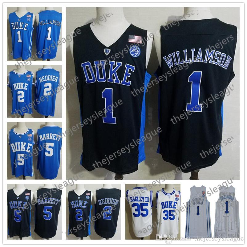 Duke Blue Devils # 1 Zion Williamson # 5 RJ Barrett # 35 Marvin Bagley III Bianco Nero Royal Blue Cucita NCAA College Basketball Jerseys