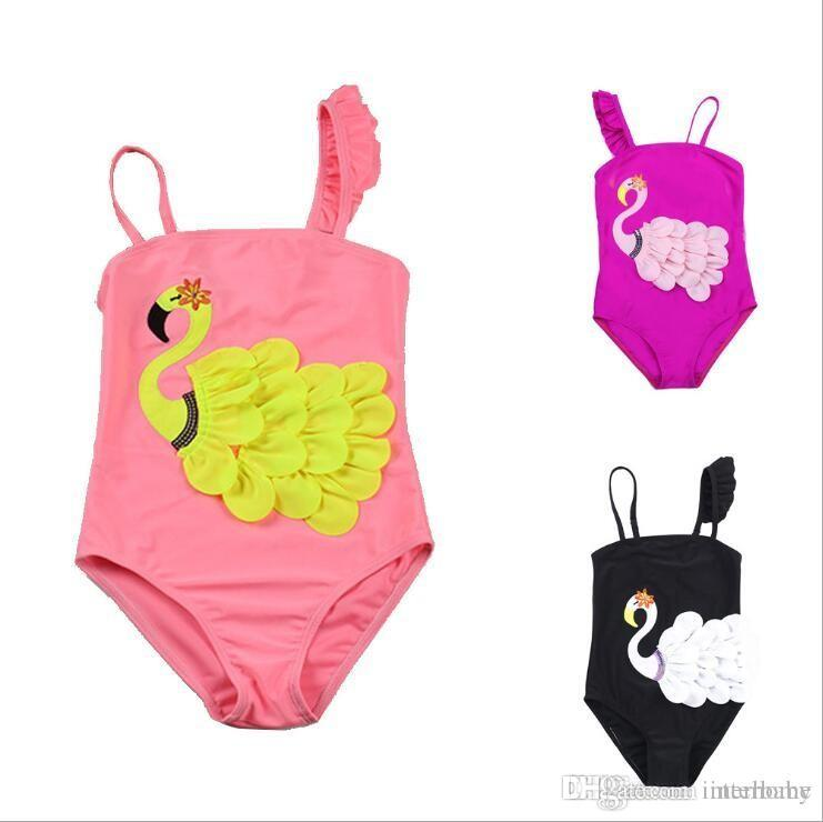 fa6bbe1734065 2019 Kids Swimwear Swan Girls Bikini Unicorn Swimsuit Baby Flamingo Floral Bathing  Suit Falbala Bow Tankini Fashion Cartoon Striped Rompers B5205 From ...