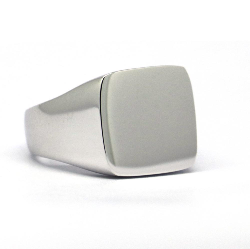 4ddc9777fc4 Engravable Genuine 925 Sterling Silver Mens Plain Square Signet Ring