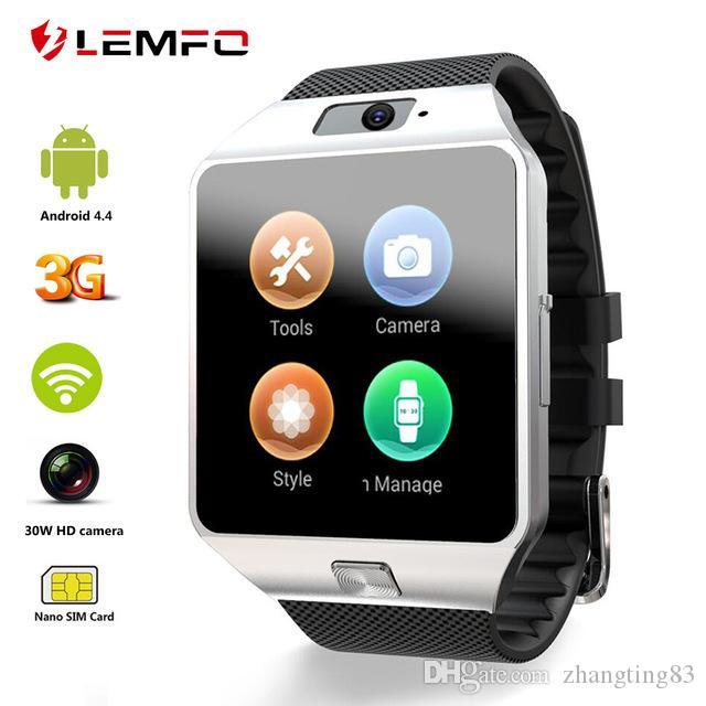 f35e1511e3c Compre LEMFO QW09 Relógio Inteligente Android 4.4 3G WIFI 512 MB   4 GB  Bluetooth 4.0 Real Pedômetro Chamada Cartão SIM Smartwatch Homens Mulheres  PK DZ09 ...