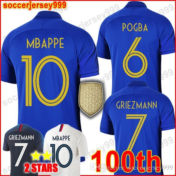 a7fe6255bee87 ... Francais Maillots De Football Coupe Du Monde 2018 100 E Anniversaire  Maillot De Foot Equipe MBAPPE Chemise De La De  13.27 Du Soccerjersey999