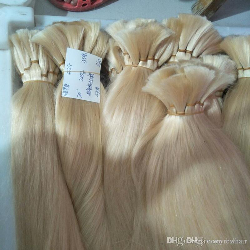 Bulk Hair Only For Extensions 300 grammi Cuticola Intact Real Capelli veri Colore europeo puro per capelli cheratinici