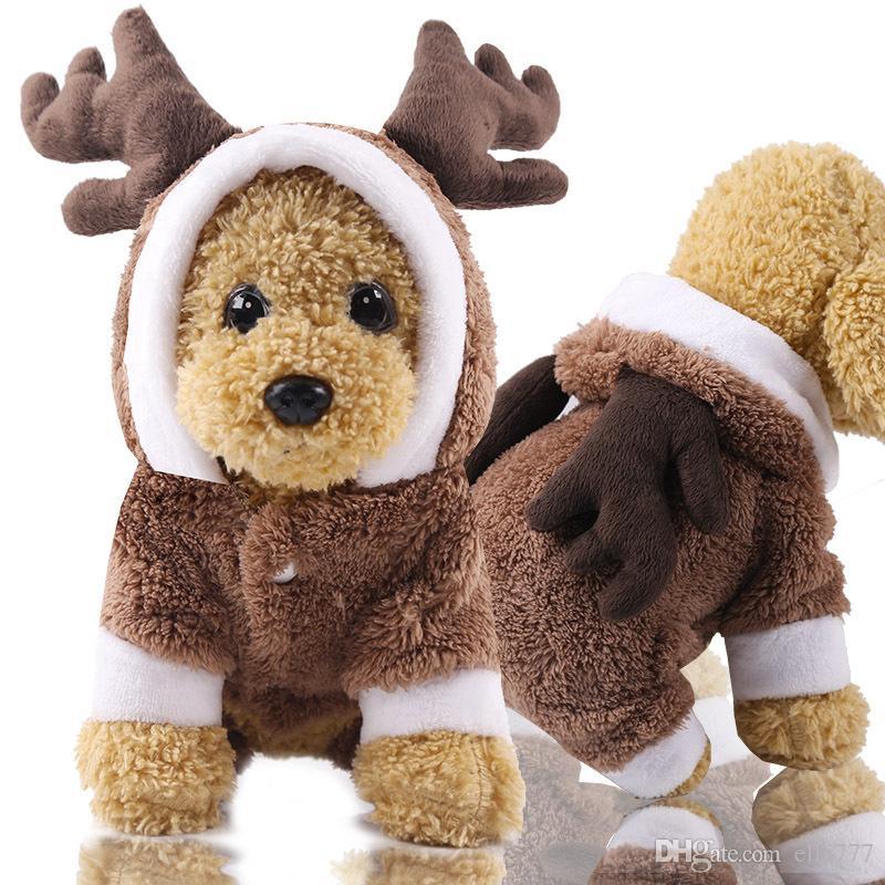 d5d23dcdf77 Christmas Moose Four Legged Thick Coat Elk Fleece Warm Button Cat  Transformed Dress Dog Animal Cartoon Cosply Clothes Cats Supplies Halloween  Costumes Cat ...