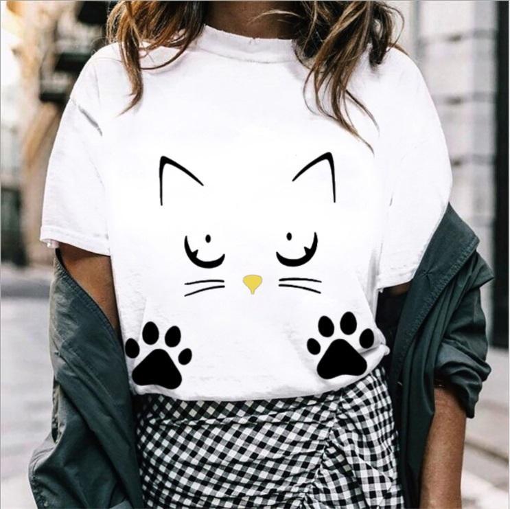 4c7b5dfb2 Fashion Cute New Short Sleeved Cat Face Print Pattern T Shirt Ladies Short  Sleeved T Shirt Tops Wholesale Interesting T Shirt Designs T Shirts Cool  Designs ...