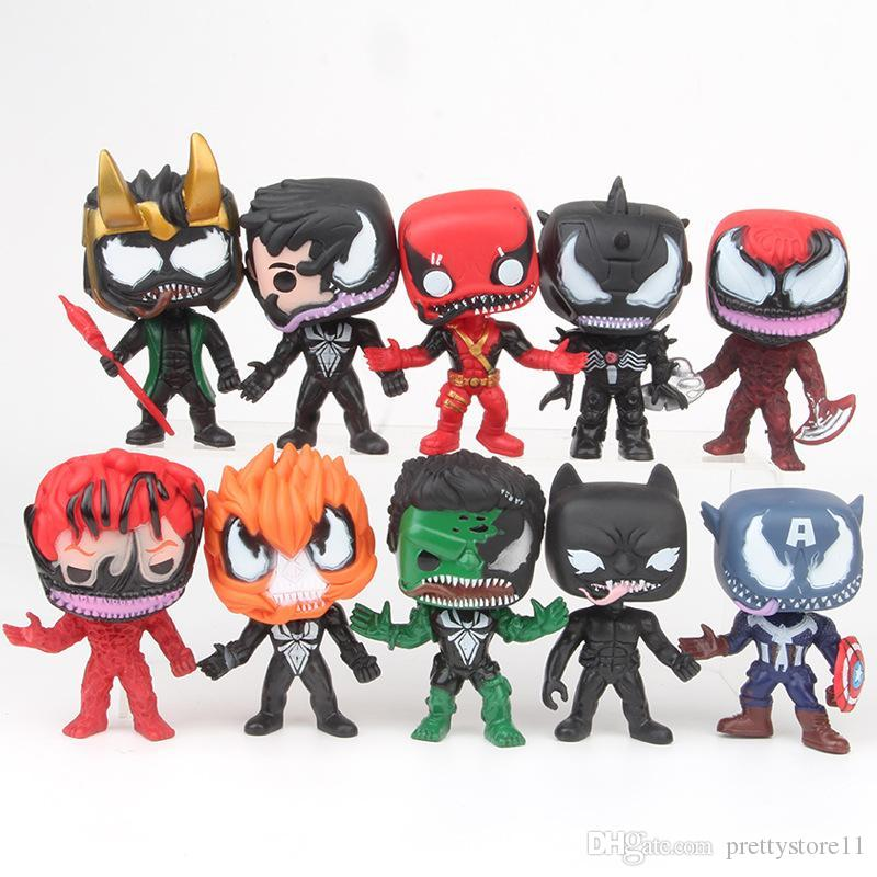 Prettygift Black Venom FUNKO POP 10pcs / set personaggi DC League Marvel Avengers Super Eroe del modello del capitano azione Toy Figure pacchetto del sacchetto di Opp