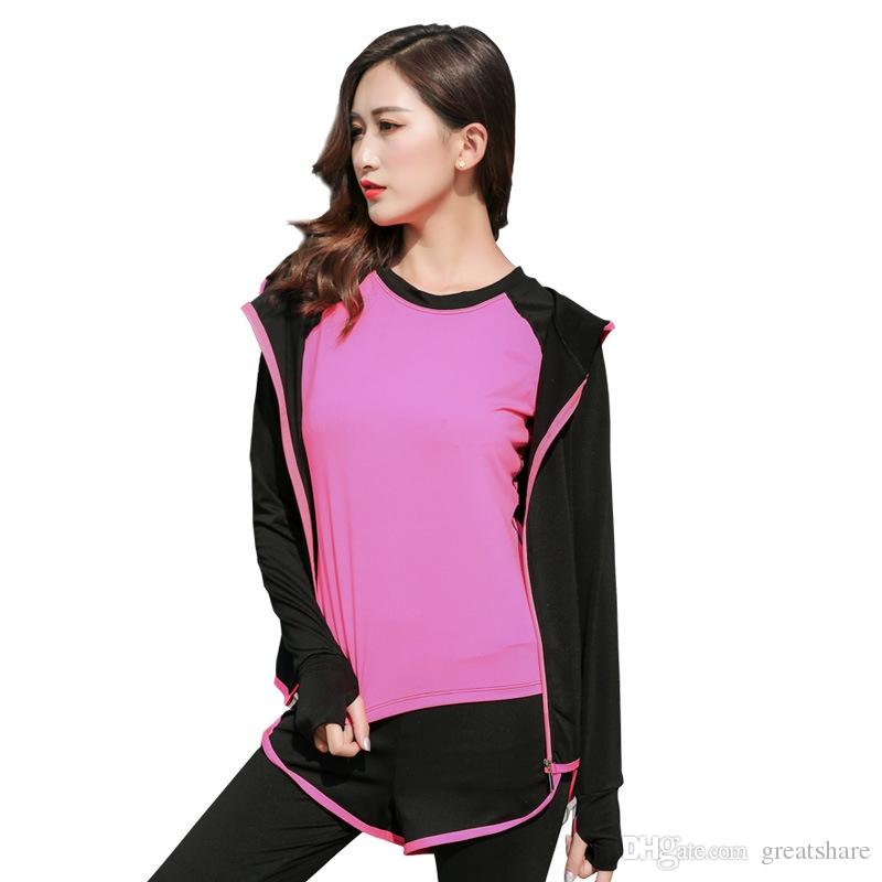Women Yoga Gym Suit Jacket Set 5PCS/SET Girl Blouse+t-shirt + Pants+Shorts+Bra Tight Leggings Costume Sports Fitness Jogging Set #937416