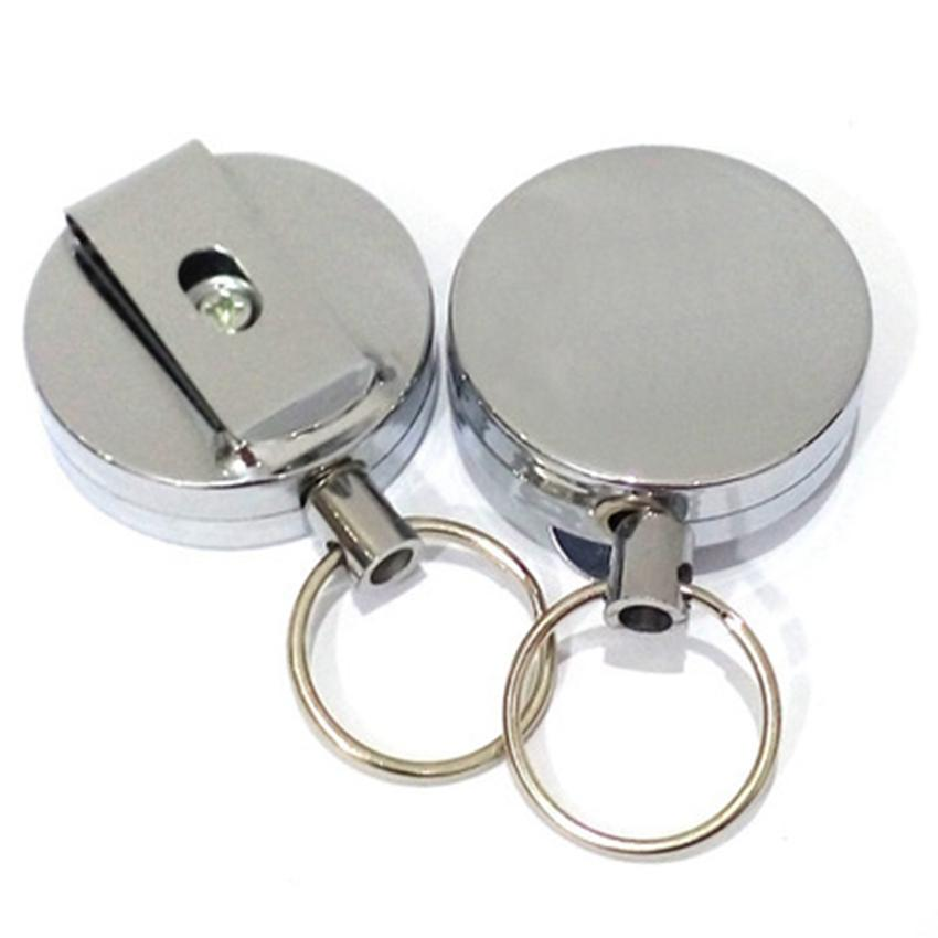High rebound telescopic wire rope key ring Anti-lost anti-theft Metal Retractable Pull Key Ring Badge Holder Key Chain Belt Clip ZZA325