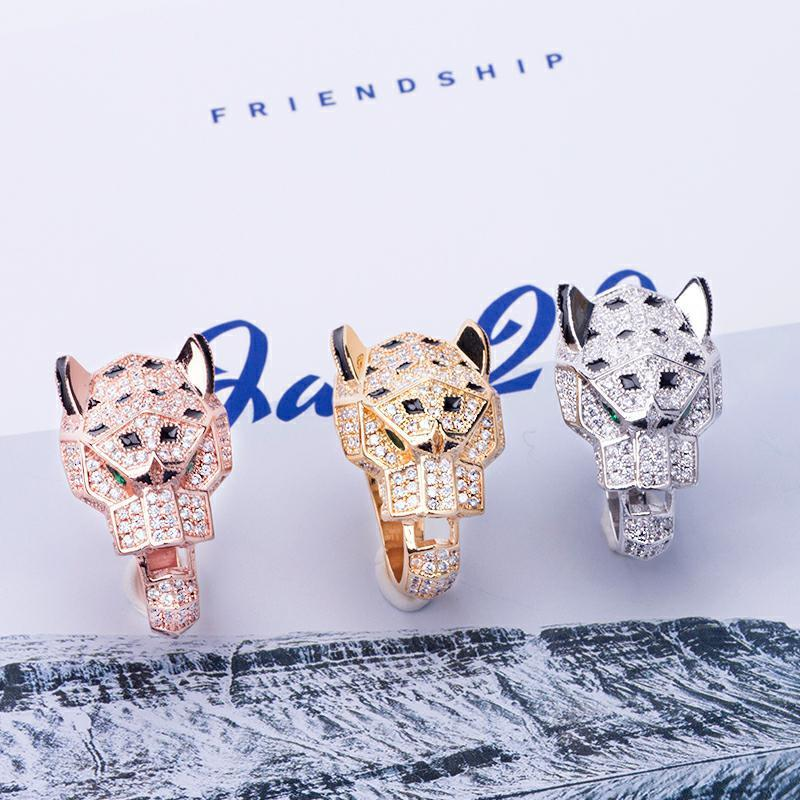 big leopard ring luxury designer jewelry men Women diamond animal gem rings ins hot party Wedding gift accessories