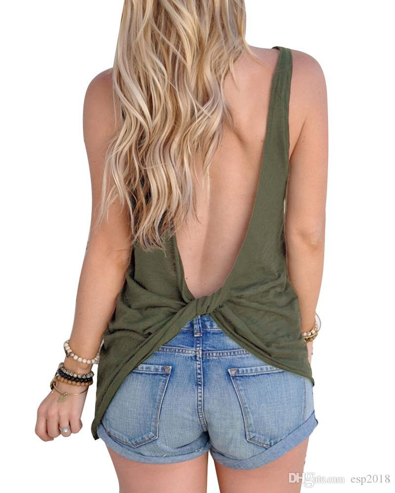 2018 2018 New Arrival Summer Women Sexy Sleeveless Backless Shirt Knotted Tank Top Blouse Sexy Vest Tops Tshirt Backless T Shirt