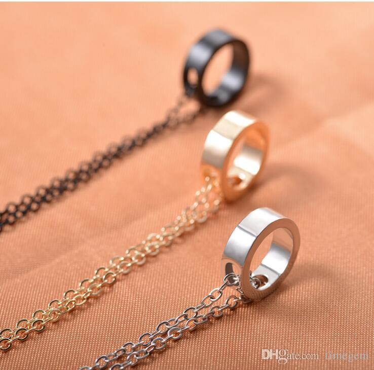 Popular and Fashion Japanese and Korean Simple Metal Ring Geometric Lovers Pendant Necklace for Women and Men N5175