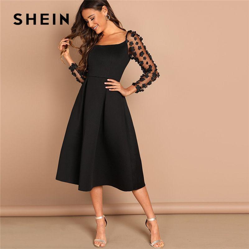 e81a0e1228b80 SHEIN Night Out Black Contrast Mesh Appliques Pleated Square Neck Knee  Length Dress Autumn Modern Lady Workwear Women Dresses Dress C Black Dresses  On Sale ...