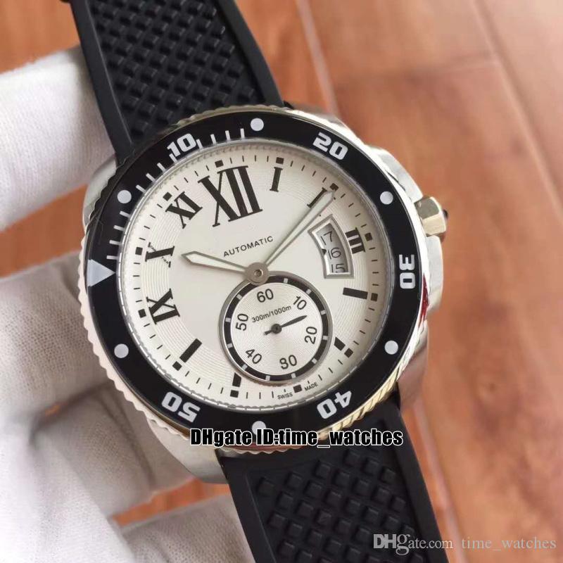 109f76b17aa Compre Novo Relógio De Luxo Calibre De W7100056 Mens Relógios Automáticos  42mm Branco Mostrador Preto Pulseira De Borracha De Alta Qualidade AAA  Gents ...