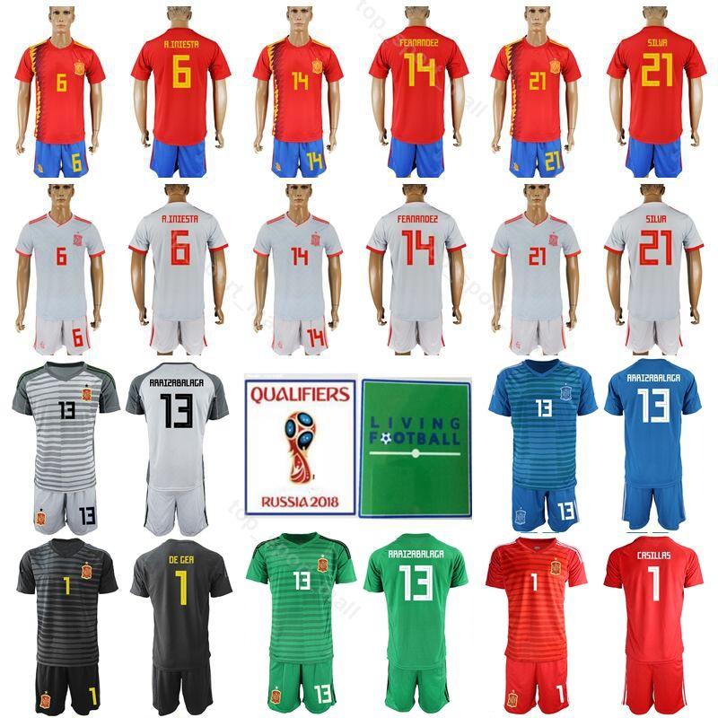 size 40 1fe66 1c155 Spain 6 Andres Iniesta Jersey Set Men Soccer 14 Xabi Alonso 21 David Silva  Football Shirt Kits Custom Name Number Red Home