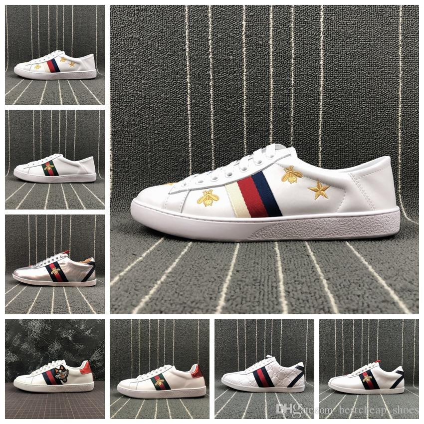 Gucci Zapatillas 2019 Ace Bordadas Low Top Para Hombre Zapatos De Diseño  Python Tiger Bee Snake Love Mujeres Ace Genuine Leather Luxury Brand  Sneaker ... ee0573c9489