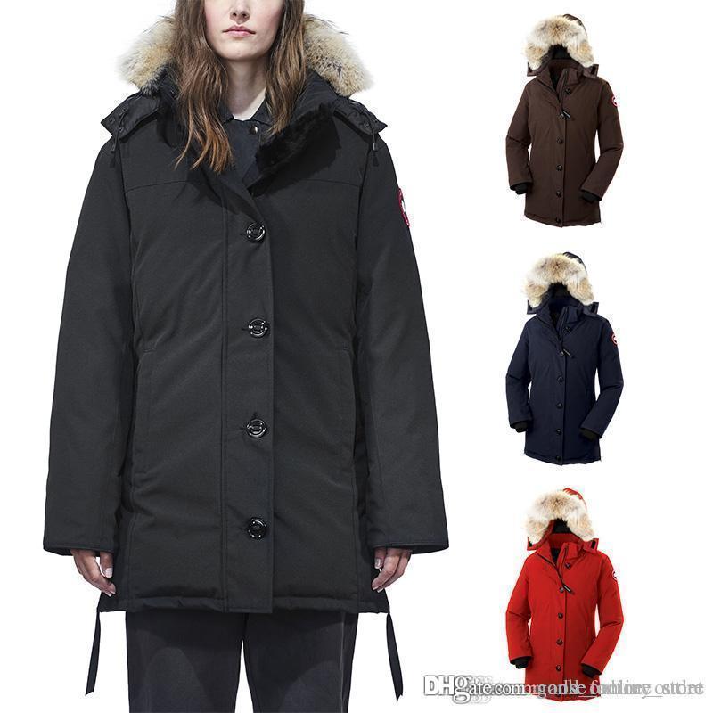 22d2b93d6 2018-2019 canada Women Goose Dawson Parka More Than 90% White Goose Down  Long Hooded Wolf Fur Warm Down Jacket DHL Free Shipping
